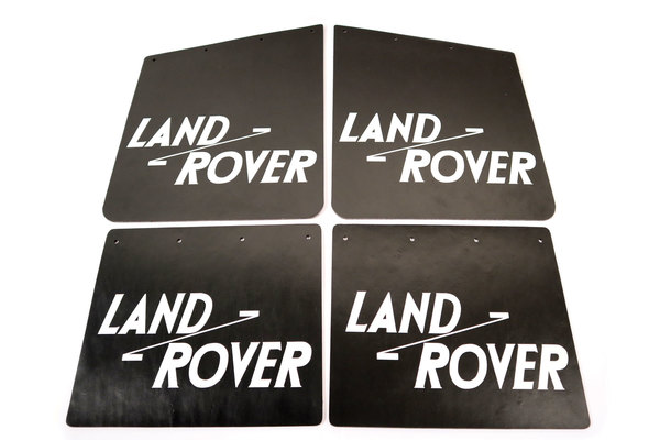 Tuff-Rok Front And Rear Mud Flap Set, Matte Black With White Land Rover Logo For Land Rover Series 2, 2A, And 3
