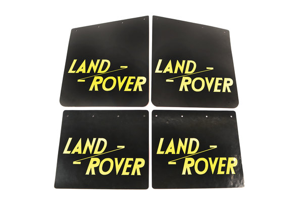 Tuff-Rok Front And Rear Mud Flap Set, Gloss Black With Yellow Land Rover Logo For Land Rover Series 2, 2A, And 3