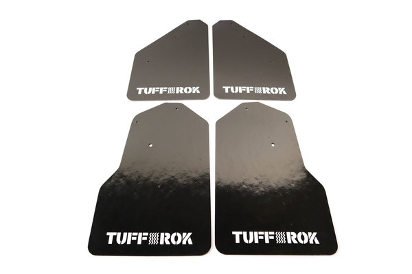 Tuff-Rok Front And Rear Mud Flap Kit For Land Rover LR4, Black With White Tuff-Rok Logo