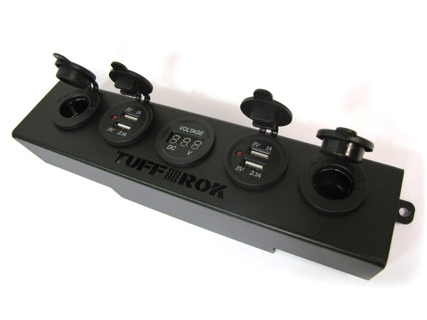 Tuff-Rok Front Dashboard Power Panel For Land Rover LR3, Features USB Ports, 12V Power Ports, And Green LED Voltage Display