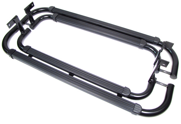 Side Steps VPLDP0068 For Land Rover Defender 90, Twin Tube Black With Top Rubber Friction Pads