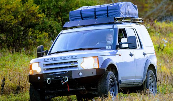 roof rack on Land Rover carrying cargo