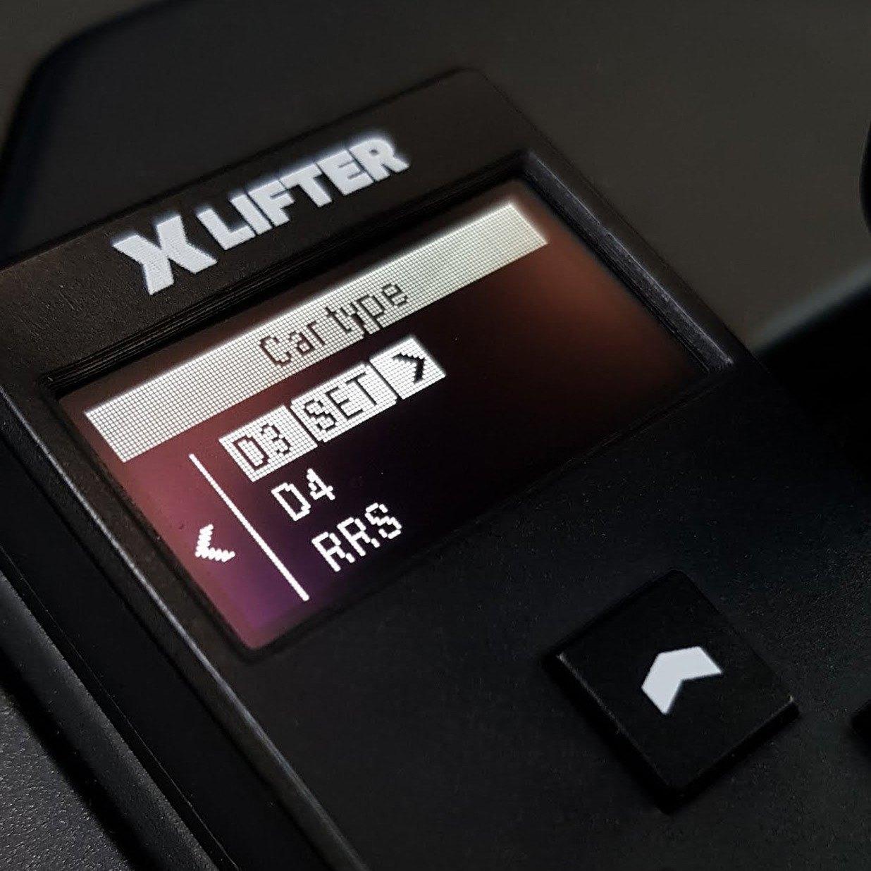 XLifter car type selector screen